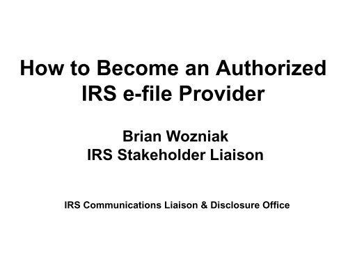 How to Become an Authorized IRS e-file Provider - IRS Video Portal