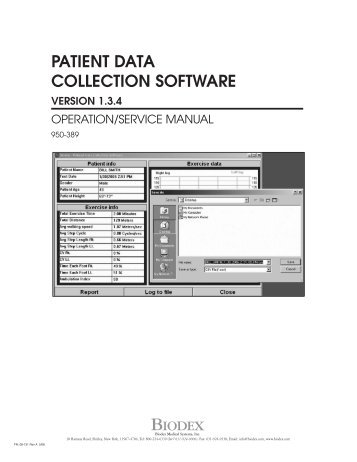patient data collection software version 1.3.4 - Biodex