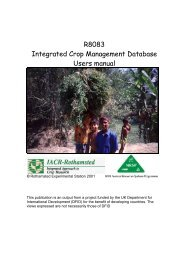 R8083 Integrated Crop Management Database Users manual - NRSP