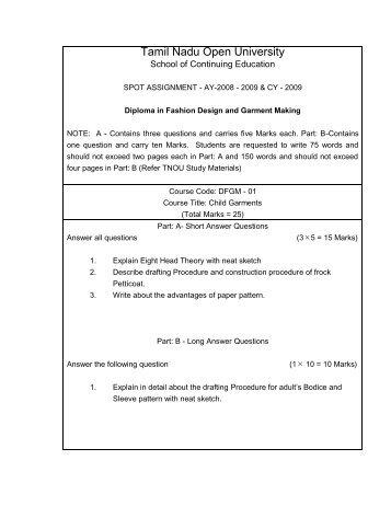 Diploma in Fashion Designing and Garment Making - Tamil Nadu ...