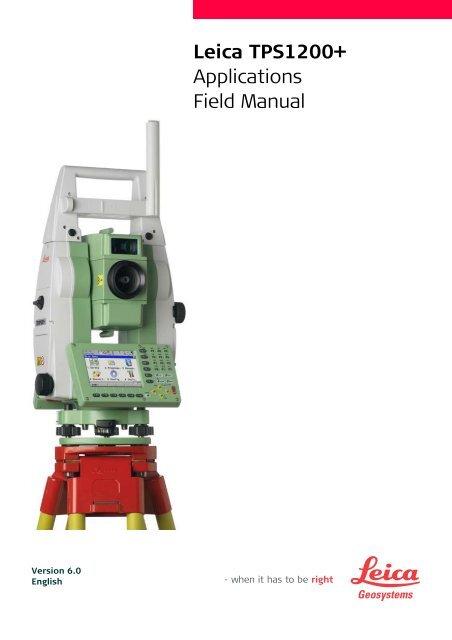Leica TPS1200 Application Field Manual