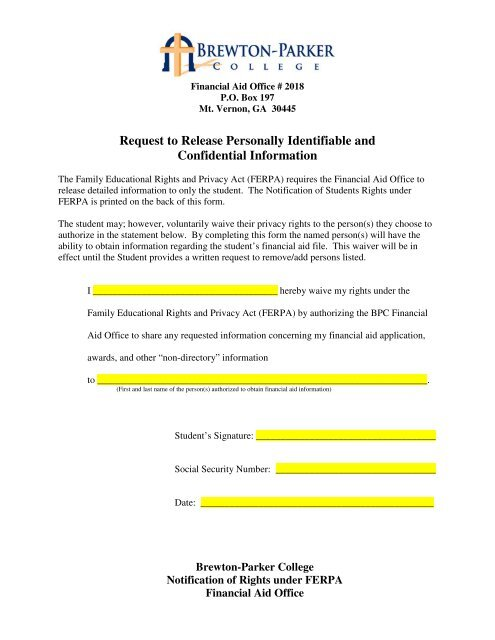 ferpa form financial aid  FERPA Information Release Authorization - Brewton-Parker College