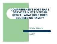comprehensive post-rape services in vct sites in kenya: what role