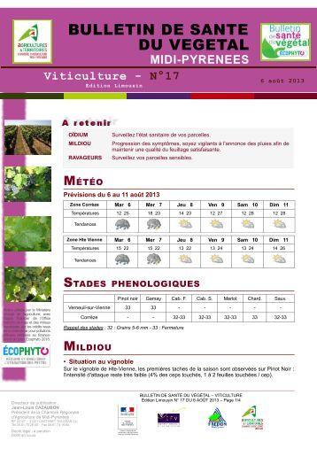 Bsv vigne n 14 du 10 07 2012 les chambres d 39 agriculture for Chambre agriculture 06