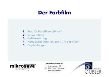 Filmtypen im professionellen Anwendungsbereich - bei Gubler ...