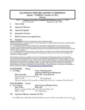 Tuesday, October 18, 2011 - City of Kalamazoo