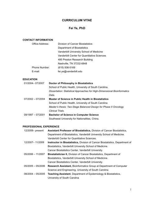 CURRICULUM VITAE Fei Ye, PhD - Vanderbilt School of Medicine