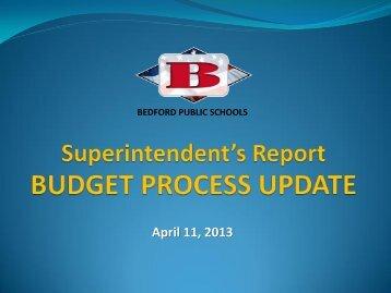Monthly Report - Bedford Public Schools
