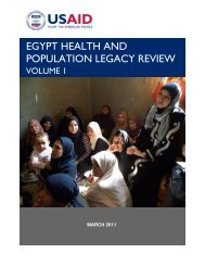 USAID/Egypt Health and Population Legacy Review - Volume I