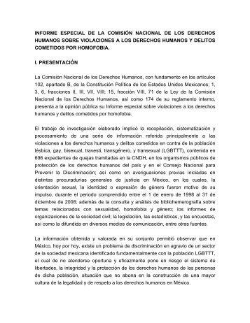 informe especial - Comisión Nacional de los Derechos Humanos