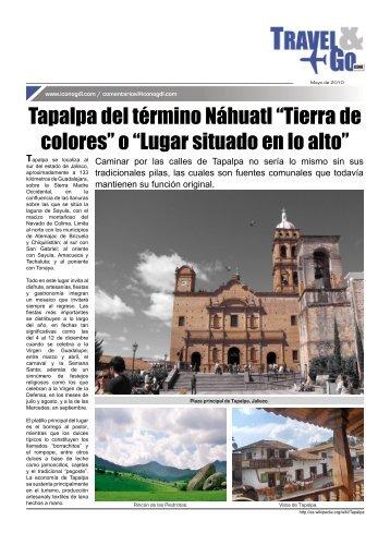 """Tapalpa del término Náhuatl """"Tierra de colores"""" o """"Lugar situado en ..."""