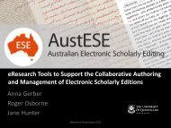 Scholarly Editions - eResearch Australasia Conference