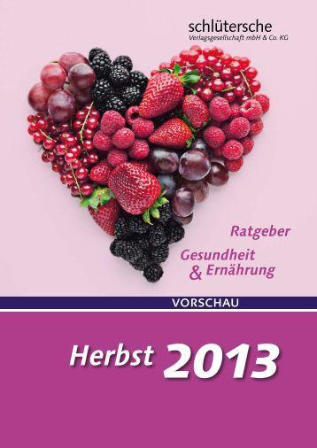 Vorschau Gesundheit und Ernährung Herbst 2013 - Schlütersche