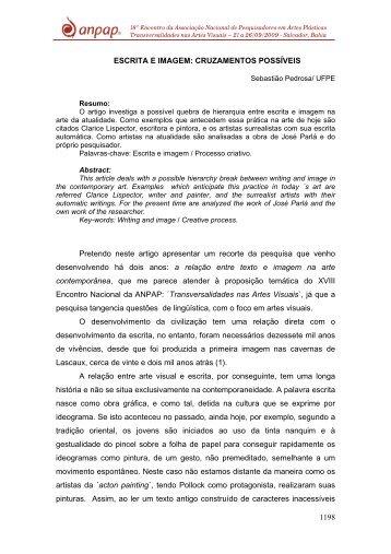 1198 ESCRITA E IMAGEM: CRUZAMENTOS POSSÍVEIS ... - anpap