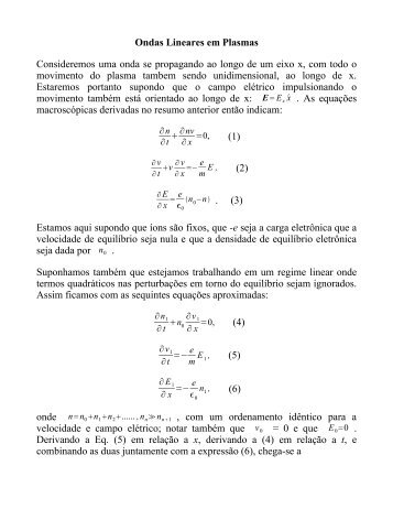 Ondas Lineares em Plasmas - Chasqueweb.ufrgs.br