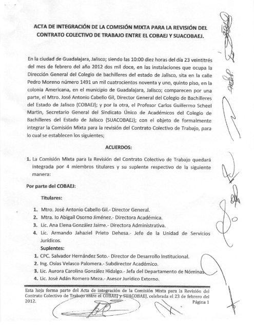 Contrato Colectivo De Trabajo Entre El Cobaei Y Suacobaej