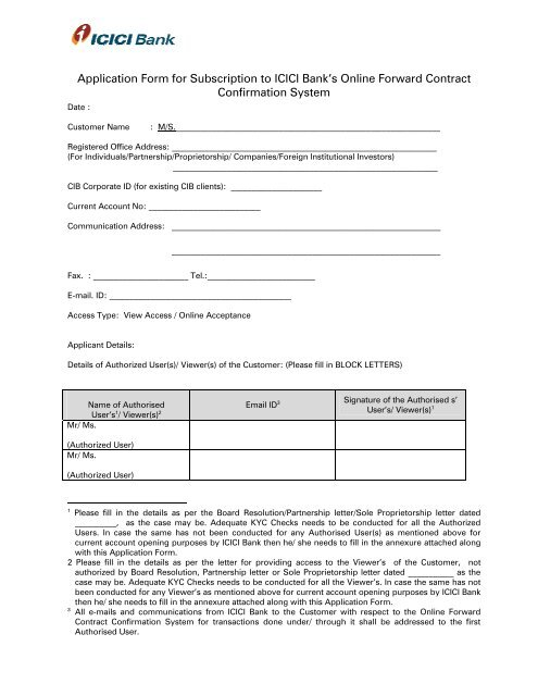 Icici Bank Kyc Form Pdf