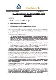 Elaine Project – Mary Kathleen Joint Venture Highlights - Goldsearch