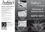 TAKE-AWAY - Zachary's