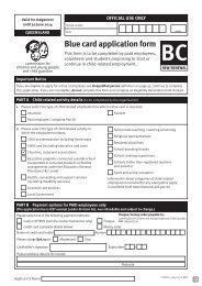 Blue card application form - Northcliffe Surf Life Saving Club