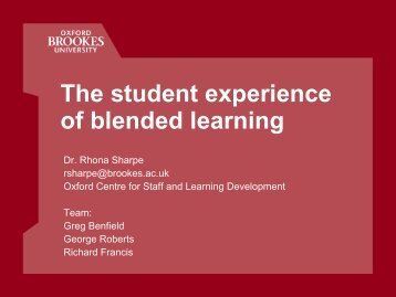 The student experience of blended learning - StudyNet