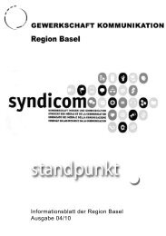 Informationsblatt der Region Basel Ausgabe 04/10 - syndicom ...