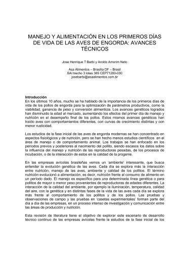 MANEJO Y ALIMENTACIÓN EN LOS PRIMEROS DÍAS DE ... - WPSA