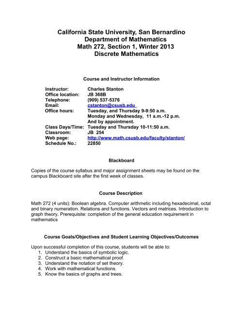 CSUSB Mathematics Syllabus - CSUSB Math Department