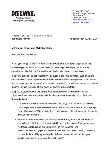 Anfrage zur Finanz und Wirtschaftskrise - Die Linke - Kreisverband ...