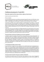 Discours de la conférence de presse (PDF) - PS du canton de Berne