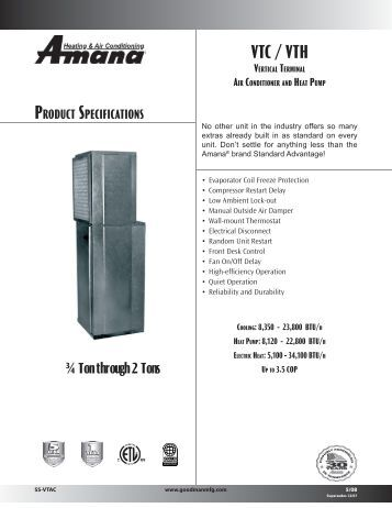 Amana ptac remote thermostat Manual