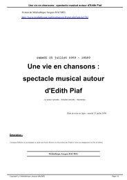 Une vie en chansons : spectacle musical autour d'Edith Piaf