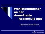 Wahlpflichtfächer an der Anne-Frank-Realschule plus Klasse 6