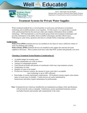 Treatment Systems for Private Water Supplies
