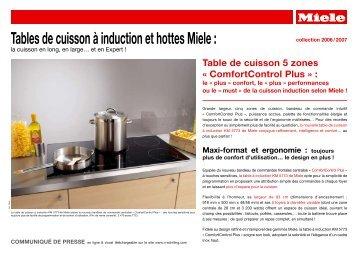 Tables de cuisson à induction et hottes Miele :