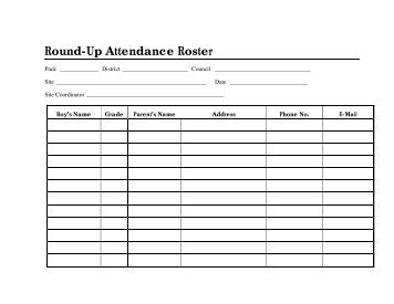 Round-Up Attendance Roster
