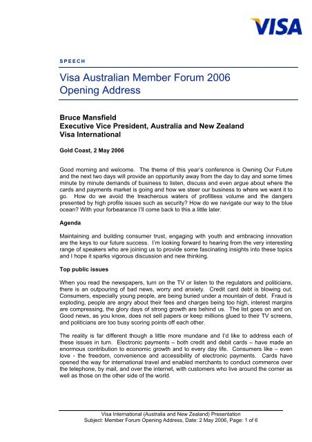 Visa Australian Member Forum 2006 Opening Address - Visa