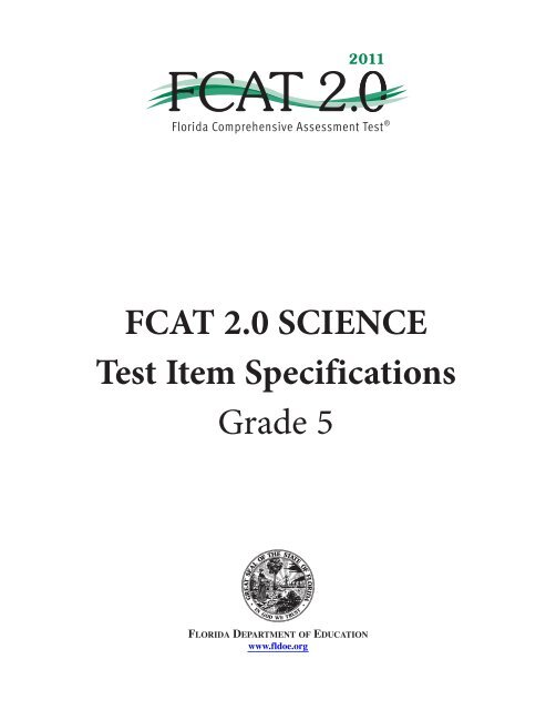 FCAT 2 0 Science Test Item Specifications Grade 5