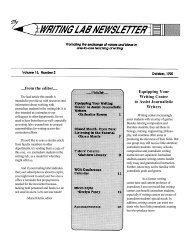 ....from the editor.... Equipping Your Writing Center to Assist ...