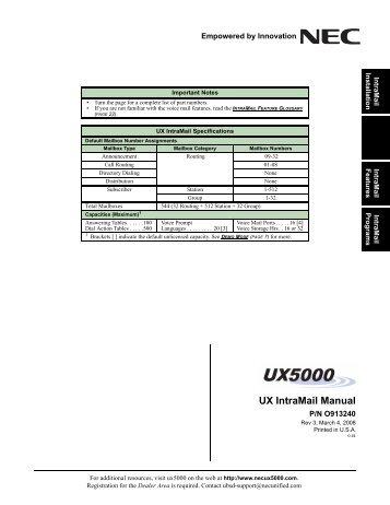 ux intramail manual nec ux5000 rh yumpu com NEC Business Phones NEC SV8100 Phone System