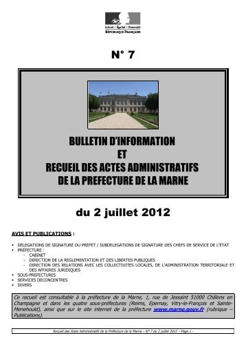 Recueil 7-2012 du 2 juillet - 9,66 Mb - Préfecture de la Marne