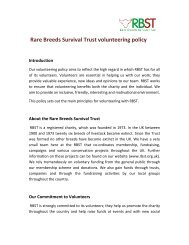 Rare Breeds Survival Trust volunteering policy Introduction