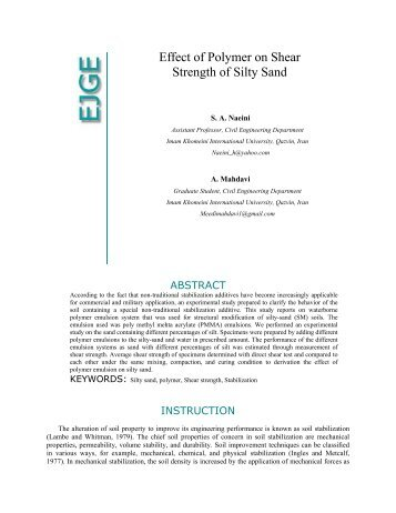 Effect of Polymer on Shear Strength of Silty Sand - Ejge.com