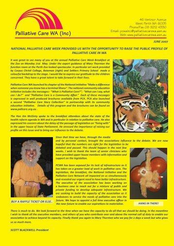 Newsletter June 2007 Ver 2.indd - Palliative Care WA
