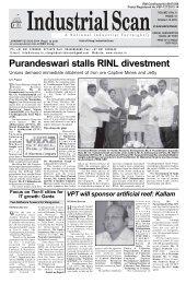 Purandeswari stalls RINL divestment - Vizag Industrial Scan