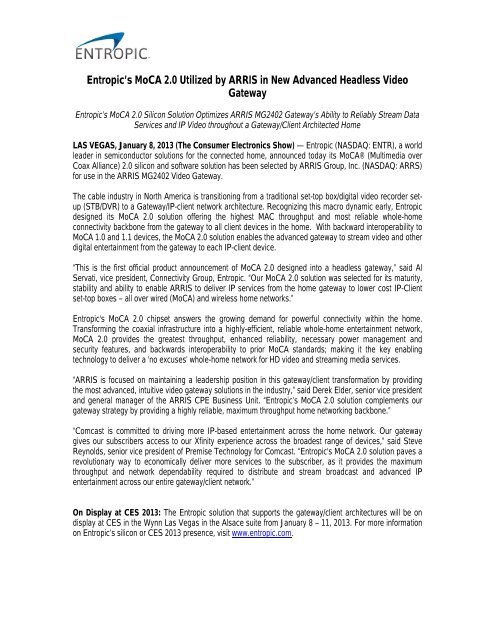 Entropic's MoCA 2 0 Utilized by ARRIS in New Advanced