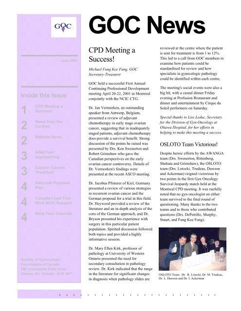 Goc News Society Of Gynecologic Oncologists Of Canada