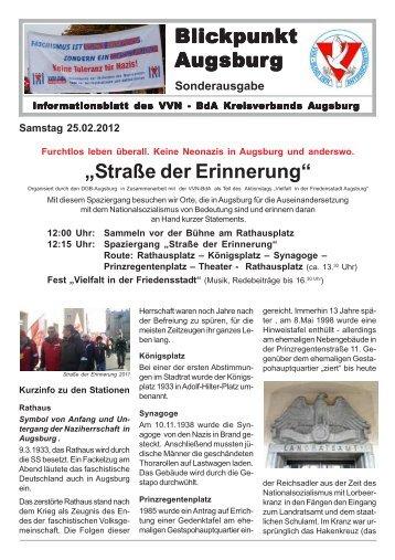 """Blickpunkt Augsburg """"Straße der Erinnerung"""" - VVN-BdA Augsburg"""