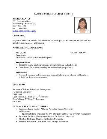 SAMPLE: CHRONOLOGICAL RESUME ANDREA SANTOS 29C .  Reverse Chronological Resume