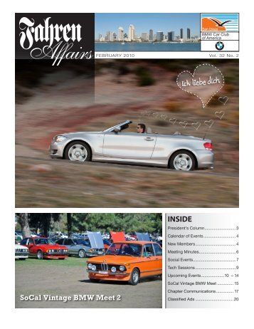 February 2010 • Fahren Affairs - San Diego Chapter, BMW CCA